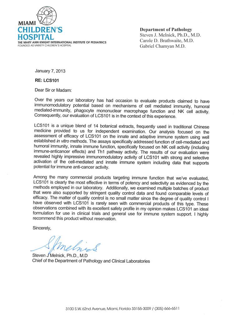 Dr Melnick letter